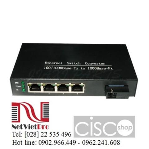 converter quang 1000M 4 x RJ45 UTP Single Fiber Single Mode 20KM SC